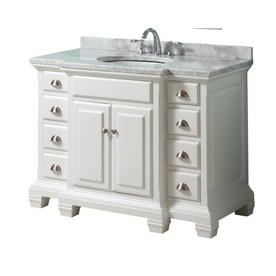 allen + roth Vanover White Undermount Single Sink Birch Bathroom Vanity with Natural Marble Top (Common: 45-in x 23-in; Actual: 45-in x 23.75-in)