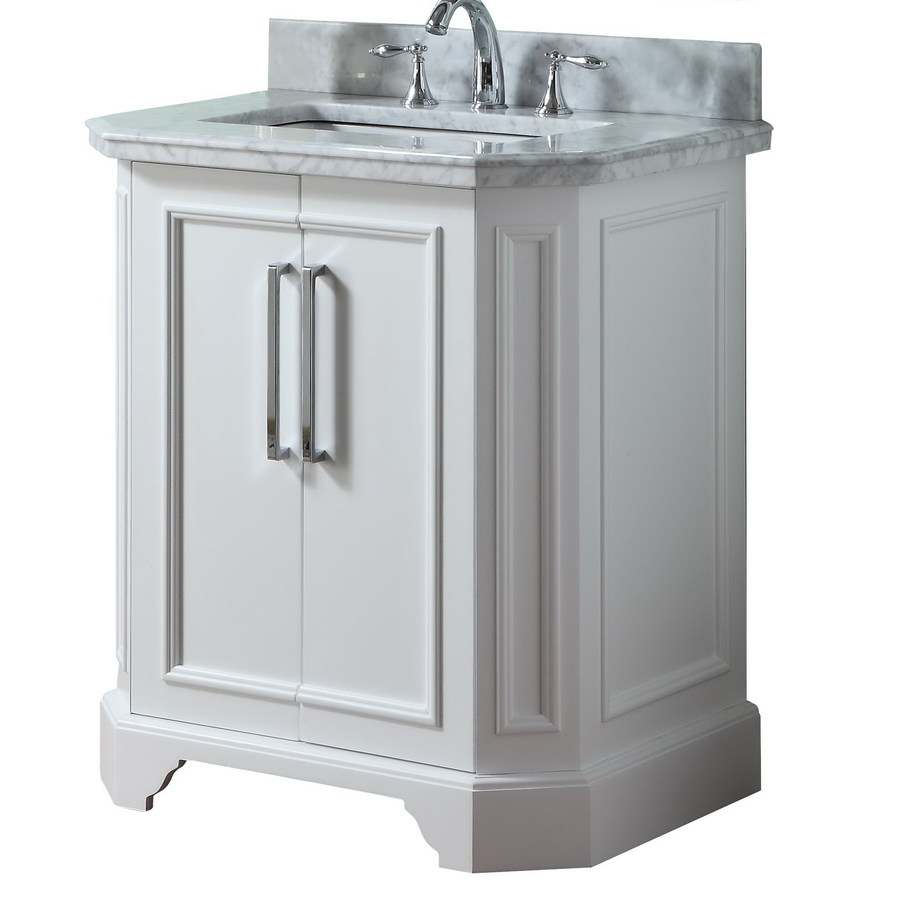 Shop allen roth delancy white undermount single sink birch bathroom vanity with natural marble Marble top bathroom vanities