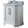 allen + roth Delancy 31-in x 21-3/4-in White Single Sink Bathroom Vanity with Natural Marble Top