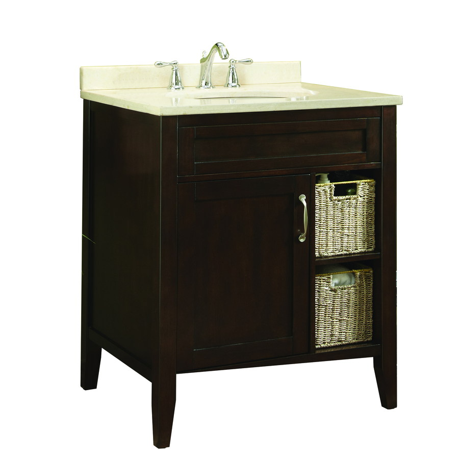 Shop allen roth tanglewood 30 in x espresso - Lowes single sink bathroom vanity ...