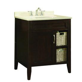 allen + roth Tanglewood 30-in x 23.75-in Espresso Undermount Single Sink Bathroom Vanity with Natural Marble Top