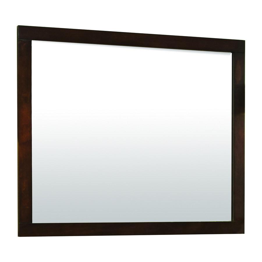 shop allen roth tanglewood 36 in h x 30 in w espresso rectangular bathroom mirror at. Black Bedroom Furniture Sets. Home Design Ideas