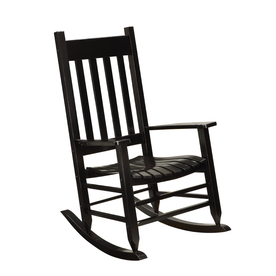 ... Treasures Black Wood Slat Seat Outdoor Rocking Chair at Lowes.com