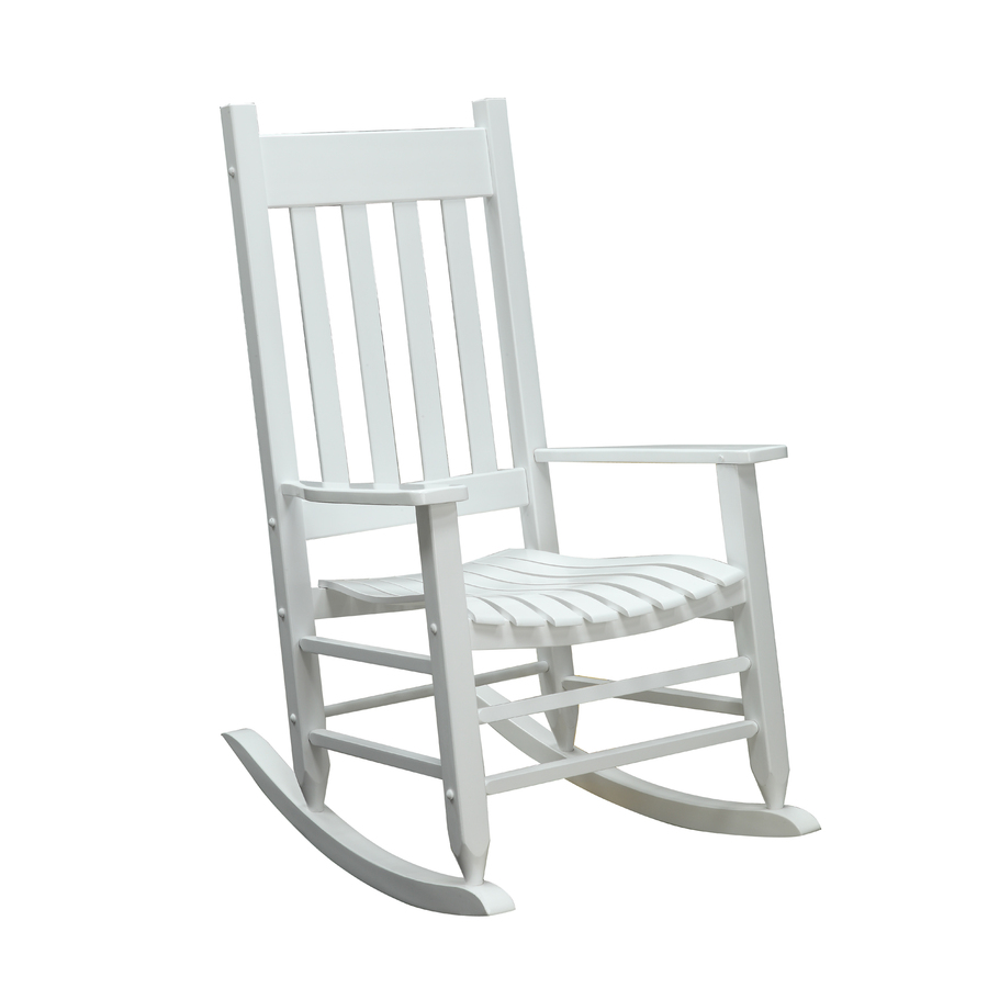 Shop garden treasures white wood slat seat outdoor rocking for Outside porch chairs