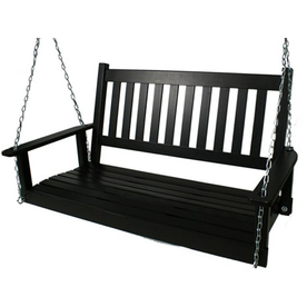 Garden Treasures 2-Seat Wood Traditional Black Porch Swing