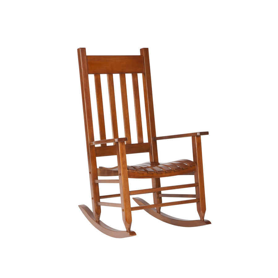 treasures natural wood slat seat outdoor rocking chair at