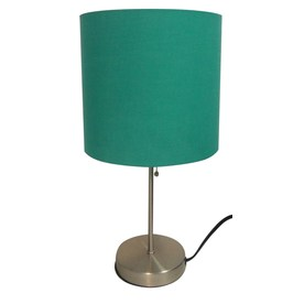 Style Selections 17.91-in Satin Nickel Indoor Table Lamp with Fabric Shade