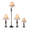 Portfolio 4-Piece Aged Bronze Casual/Transitional Standard Lamp Set with Fabric Shades
