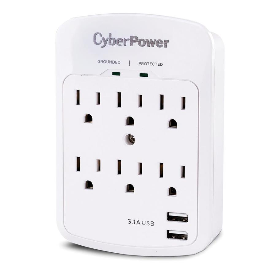 CyberPower GT600L 6 Outlet Grounded Wall Tap with LED Guide Light