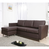 Enitial Lab Mona-Piece Brown Bonded Leather Sectional Sofa