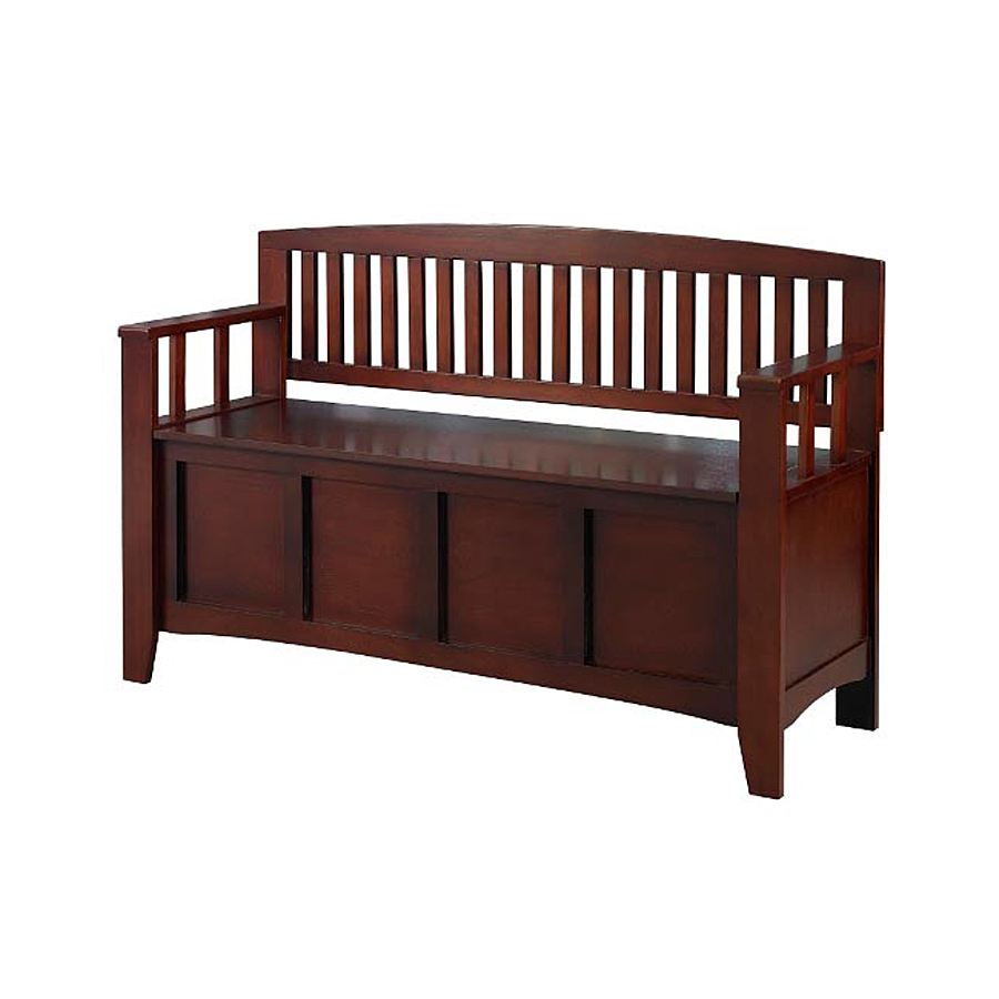 Shop linon home decor walnut indoor entryway bench with for Entryway mudroom bench