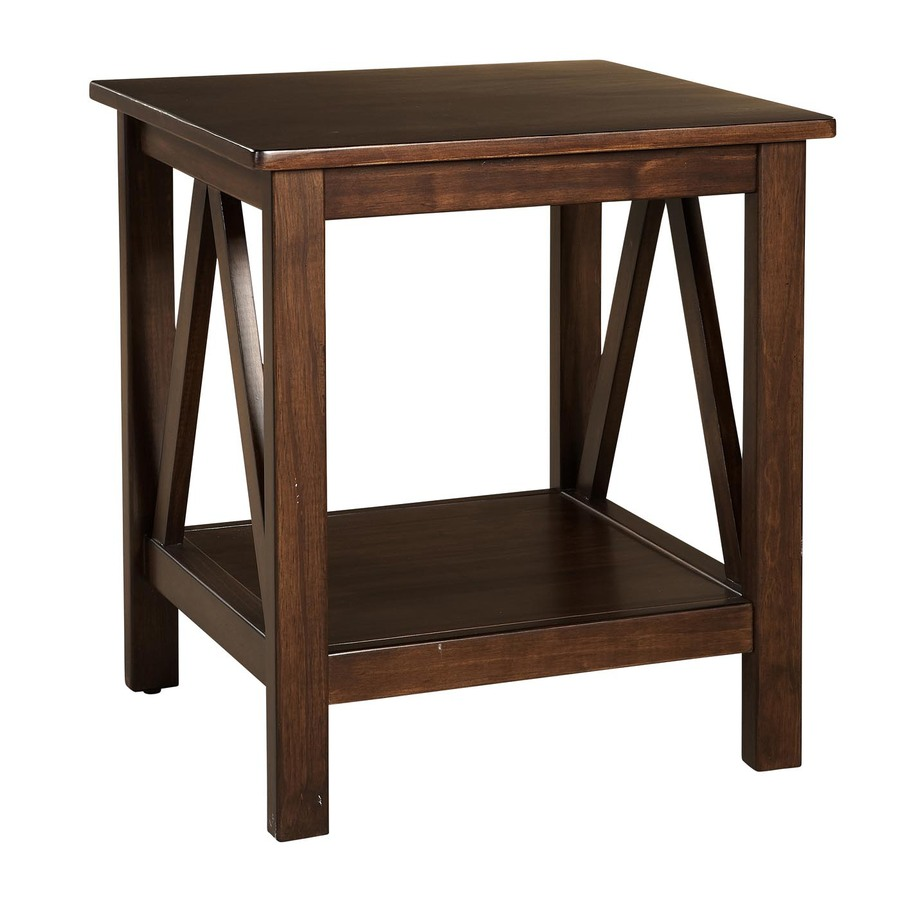 Shop linon home decor titian antique tobacco pine square for Square side table