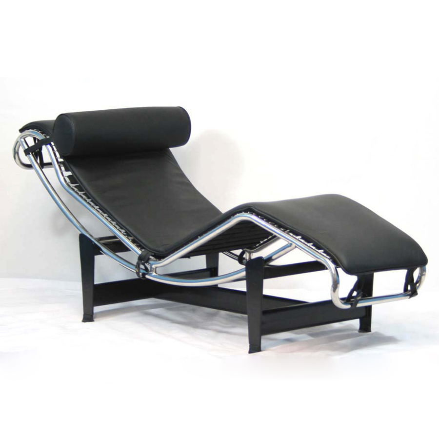 Shop modway le corbusier black chaise at for Chaise corbusier