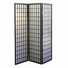 ORE International 3-Panel Black Wood and Fabric Folding Indoor Privacy Screen