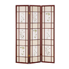 ORE International 3-Panel Cherry Wood and Fabric Folding Indoor Privacy Screen