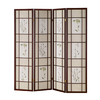 ORE International 4-Panel Cherry Wood and Fabric Folding Indoor Privacy Screen