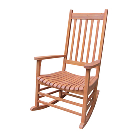 International Concepts Oiled Wood Slat Seat Outdoor Rocking Chair