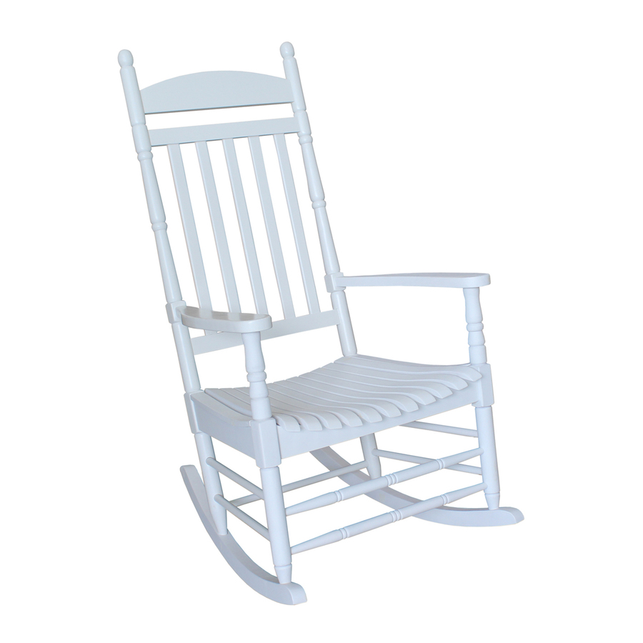 ... Concepts White Wood Slat Seat Outdoor Rocking Chair at Lowes.com