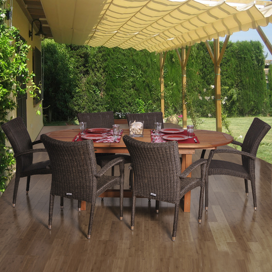 home 7 piece amazonia woven wicker patio dining set at