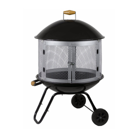 Fire Sense Black and Silver Steel Outdoor Wood-Burning Fireplace
