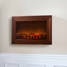 Shop Fire Sense 30 In W Natural Stained Wood Wall Mount Electric Fireplace With Remote Control