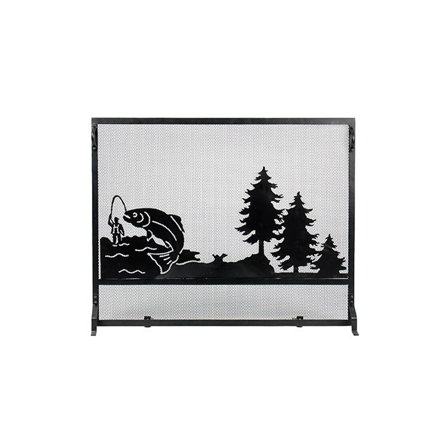 shop achla designs 38 in black iron flat fireplace screen at