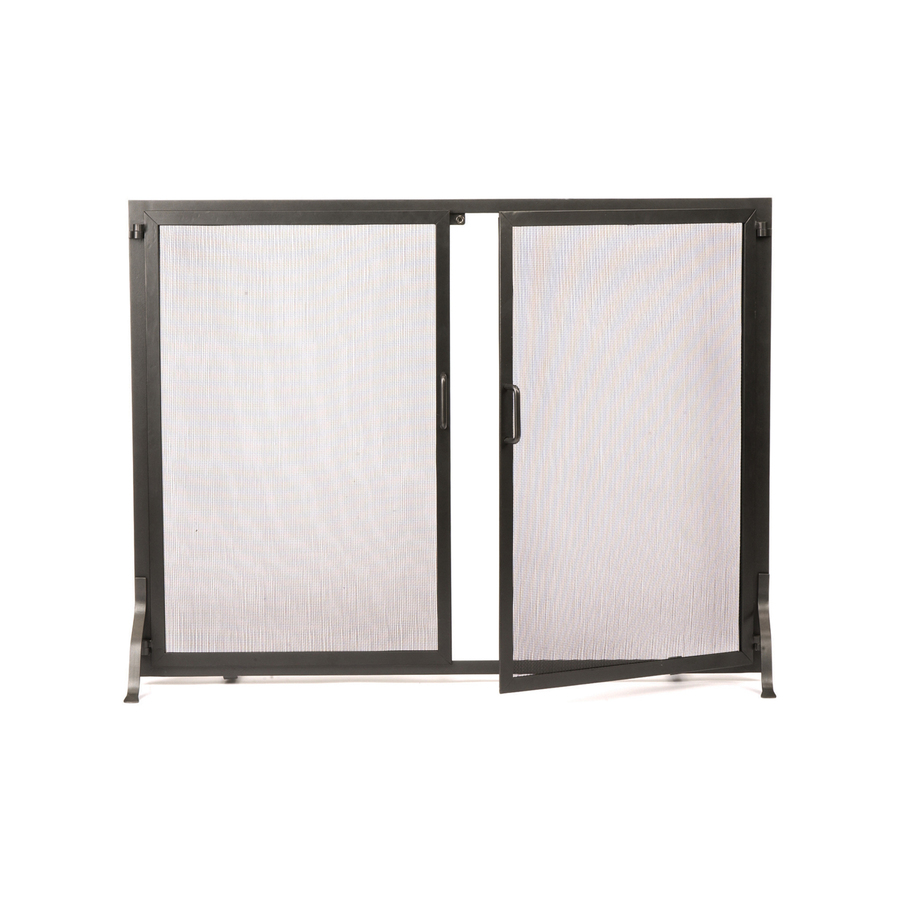 designs 38 in graphite iron flat twin fireplace screen at