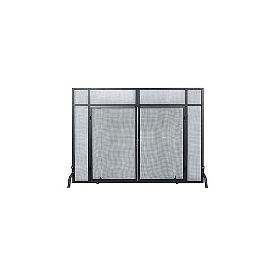 achla designs 50 in black iron flat twin fireplace screen at