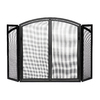 ACHLA Designs 50-in Black Iron 4-Panel Arched Twin Fireplace Screen