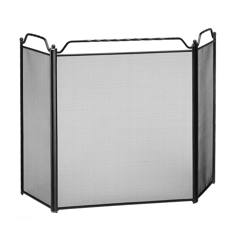 designs 51 in black steel 3 panel flat fireplace screen at