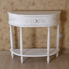 International Caravan Carved Wood Antique White Half-Round Console and Sofa Table