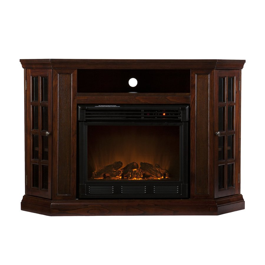 Shop Boston Loft Furnishings 48 In W Espresso Wood Electric Fireplace With Thermostat And Remote