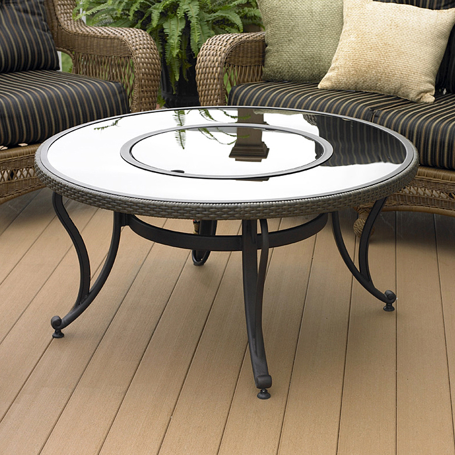 shop outdoor greatroom company black glass fire pit table