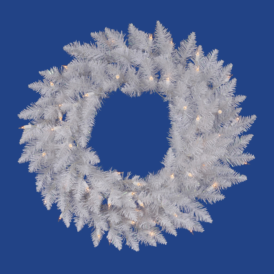 Vickerman 36 in Pre Lit Plug In Crystal White Spruce Artificial Christmas Wreath with White Clear Incandescent Lights