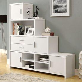 Monarch Specialties White 63.1-in 4-Shelf Bookcase