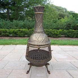Oakland Living Antique Bronze Cast Iron Outdoor Wood-Burning Fireplace
