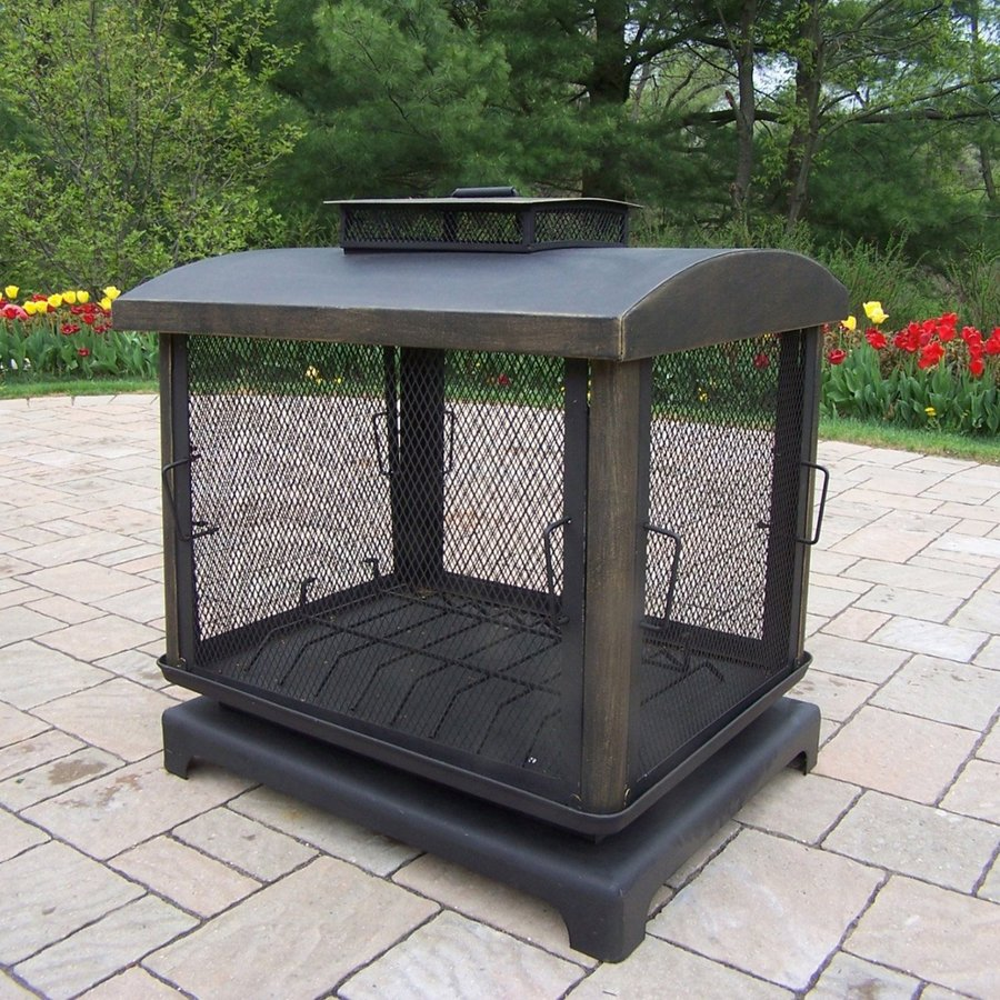 Shop Oakland Living Black Iron Outdoor Wood Burning Fireplace At