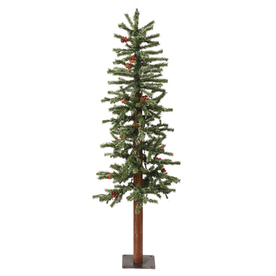 Vickerman 4-ft Pre-Lit Winterberry Slim Artificial Christmas Tree with White Incandescent Lights