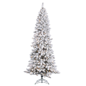 Vickerman 7-ft Indoor Pine Pre-Lit Flocked Pencil Pine Artificial Christmas Tree with Clear Lights