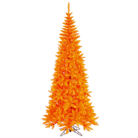 Vickerman 4.5-ft Pre-Lit Fir Artificial Christmas Tree with Orange Incandescent Lights