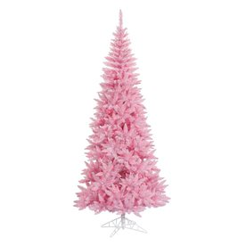 Vickerman 6.5-ft Indoor Fir Pre-Lit Pink Slim Fir Artificial Christmas Tree Pink Lights K123666