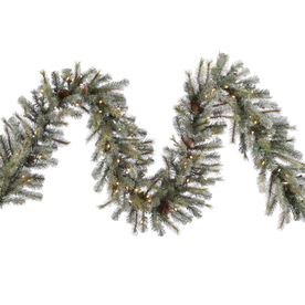 Vickerman 16-in x 9-ft Pre-Lit Artificial Christmas Garland with White Incandescent Lights