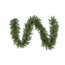 Vickerman 14-in x 50-ft Pre-Lit Camden Fir Artificial Christmas Garland with Multicolor LED Lights