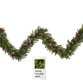 Vickerman 14-in x 9-ft Pre-Lit Pine Artificial Christmas Garland with White Incandescent Lights