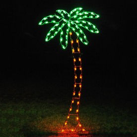 Ft palm tree outdoor christmas decoration with led multicolor lights
