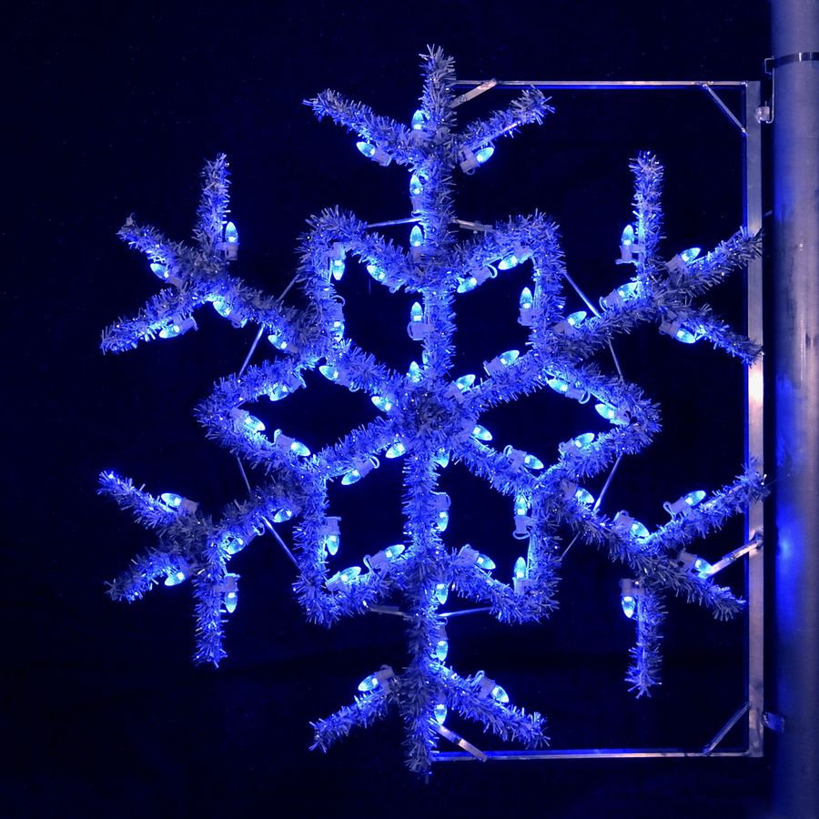 Shop holiday lighting specialists 4 ft garland snowflake for Led outdoor decorations