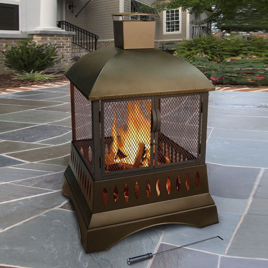 Shop Landmann Usa 33 5 In W Metallic Brown Steel Wood Burning Fire Pit At