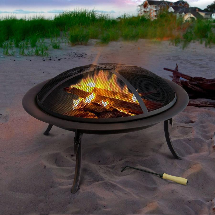 Shop landmann usa 30 in w black steel wood burning fire for Lowes fire pit