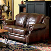 Coaster Fine Furniture Princeton Dark Brown Leather Stationary Loveseat