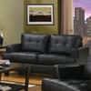 Coaster Fine Furniture Samuel Black Bonded Leather Bonded Leather Stationary Loveseat